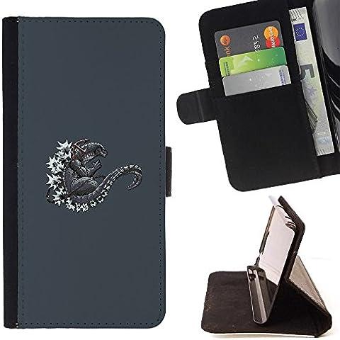 Momo Phone Case / Flip Funda de Cuero Case Cover - Arte gris del narciso de la guirnalda - LG G4c Curve H522Y (G4 MINI), NOT FOR LG G4