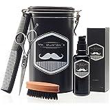 """Set de soins pour barbe de grande qualité, comprenant l'huile à barbe Mr. Burton """"pure"""", un ciseau et un peigne pour barbe – à offrir ou en cadeau d'anniversaire pour les hommes et les porteurs de barbe."""