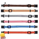 TRIXIE Welpenhalsbänder-Set WO +BALL Gratis Hundehalsband Halsband Hunde Hundehalstuch Welpen (S-M(17-25 cm/10 mm), Inhalt: 6 St. Farbe: braun, beige, silbergrau, rosa, hellblau, orange)