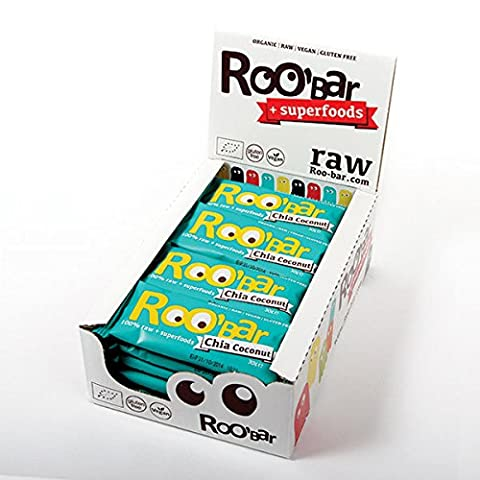 ROO'BAR Chia Coconut - 20 bars (20x 30g) - Raw Superfood Bar (organic, vegan, glutenfree, raw)
