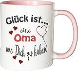 WarmherzIch Becher Tasse Glück ist... Oma Kaffee Kaffeetasse liebevoll Bedruckt...