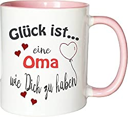 WarmherzIch Becher Tasse Glück ist... Oma Kaffee Kaffeetasse liebevoll Bedruckt Omi Großmutter Muttertag Weiß-Rosa