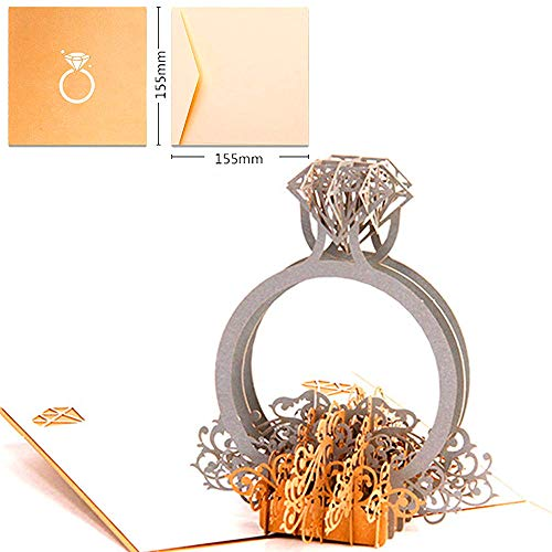 Pop-Up Karte Diamant-Ring - Handgemachte Valentinskarte,3D Valentinstagskarte für Freundin, Frau, besondere Anlässe (Geburtstagskarte, Jahrestag) - Romantische Hochzeitstag-Karte für Sie (Diamant-schwester-ring)