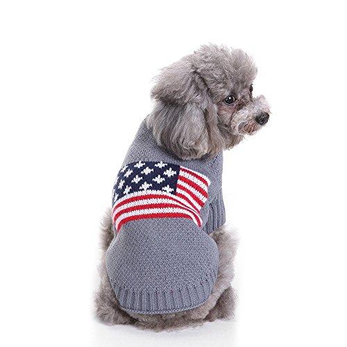 S-Lifeeling National Flagge Hund Pullover Urlaub Halloween Weihnachten Haustier Kleidung Angenehm Weiches Hund Kleidung, Back Length 20