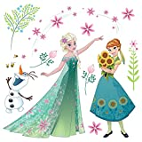 Komar - Disney - Window-Sticker FROZEN FLOWERS - 31 x 31cm - Fensterdeko, Fenstersticker, Eiskönigin, Elsa, Anna - 16407