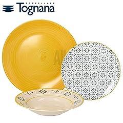 Idea Regalo - Tognana Djerba Servizio Tavola 18 Pezzi, Porcellana, Multicolore