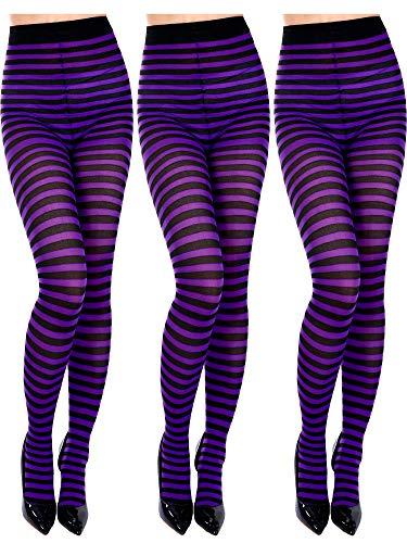 Blulu 3 Stücke Halloween Gestreifte Strumpfhose Gestreifte Kostüm Strumpfhose Oberschenkel Hohe Gestreifte Socken für Damen Mädchen Halloween Cosplay Party Kostüme (Farbe 1) (Oberschenkel Hohe Stiefel Kostüm)