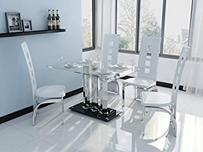 Clear & Black Glass 4 Seat Dining Table & White Faux Leather Chairs Furniture Set - inexpensive UK dining table shop.