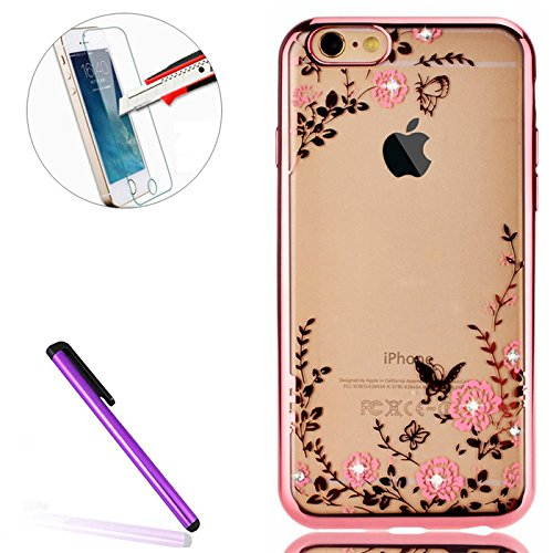 iPhone 4S Coque Silicone,iPhone 4S Coque Etui Silicone Housse,iPhone 4S Coque Transparente Bling 3D Bumper,iPhone 4S Coque Etui Silicone Housse Coque Bling Etui Souple TPU Case Cover pour iPhone 4,iPh TPU 1