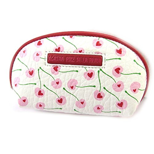 Agatha Ruiz de la Prada [N4868] - Porte-monnaie zippé 'Agatha Ruiz de la Prada' blanc rose - cerises d'amour