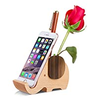 AhfuLife® Wooden Elephant Phone Stand with Pen Pencil Holder/Pot for iPhone Samsung Huawei, Desk Decoration Multi-Functional Stationery Organizer, Gift for Valentine