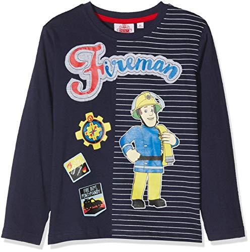 Feuerwehrmann Sam, Jungen T-shirt 4742,Blau (Marine), 6 ()