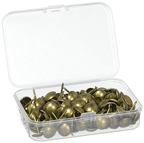 120 Stück Polsterzubehör Reißzwecken 11 x 17 mm Antike Messingstifte Bronze Nagel Stifte Möbel Daumen Tack Pin mit Kunststoffbox