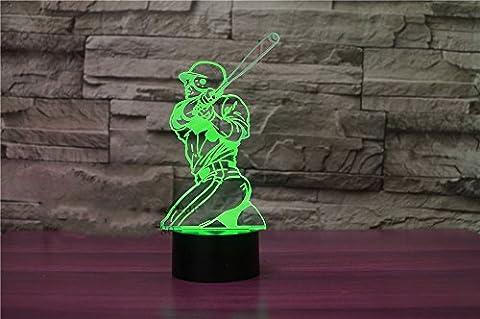 3D joueur de base - ball Nuit LED Lampes Art Déco Lampe la couleur changeant lumières LED, Décoration Décoration Maison Enfants Meilleur cadeau, Lumière Touch Control 7 couleurs Change