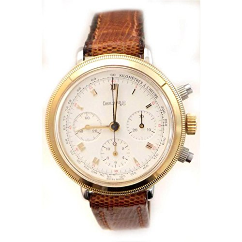 Mechanical Clock Men Eberhard 32031CP Gold quandrante White Leather Strap