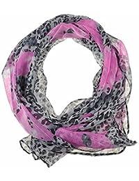 Chiffon Fashion Scarf / Animal Flower Printed Classy Scarves (Flower & Leopard - Pink)