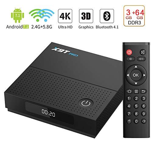 WFGZQ TV Box Android 7.1 Netzwerk TV Box 3 GB + 64 GB S912 Octa Core ARM Cortex-A53, Android Box BT 4.1, 2,4 G Dual Band 2,4 G / 5,8 G Gigabit 1000 M, 4 K HD 3D Smart TV Box,3gb+64gb