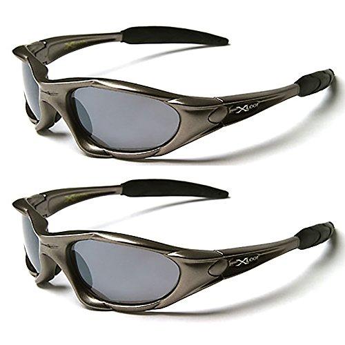 X-Loop® Sonnenbrillen-Doppelpack,Ski- und Sportsonnenbrille für Erwachsene,einzigartige Größe,UV400-Schutz. fürs Joggen/Skifahren/Snowboarden/Angeln/Radfahren (2x Sonnenbrillen), Grün