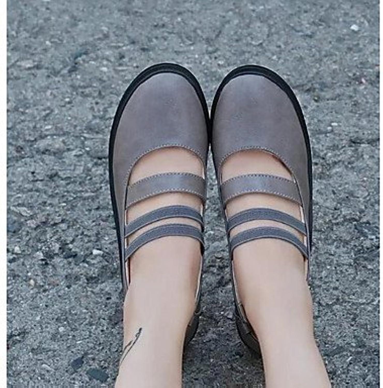 Las mujeres 039 s sandalias primavera PU Confort confort informal Gris negro 1A-1 3 4inGrayUS8 UE39 UK6 CN39