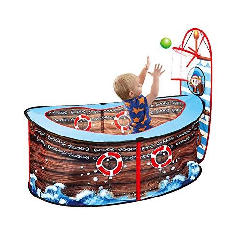 Knowled Kid Ball Pit Piratenschiff Pool Zelt mit Basketballkorb - Spielzelt Indoor Toy House Spiel Zaun für Kinderzimmer, 125cm