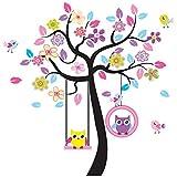 Rainbow Unicorn Bezaubernde Kunst Bunte Baum Decals mit hängenden Eule Wandaufkleber, DIY-Wand-Dekor, Rosa Eule Wandaufkleber Wandbilder, Eule Wallpaper für Kinderzimmer Kindergarten oder Wohnzimmer