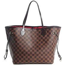 64ec0a8682af6 Noah Birch Neverfull Style Damier Tote Schulter Große Kapazität  Einkaufstasche Weiblichen Beutel Schachbrett Frauen Organizer Handtasche