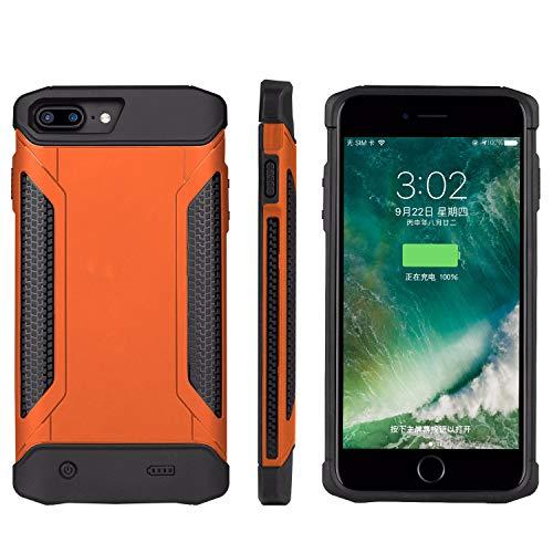 Staubdicht Stoßfest Backup Akku Ladegerät Fällen für iPhone 6/6S/7/8(Orange).4000mAh Power Bank Case Schutzhülle Ultra Slim Externer Pack Ladekabel Fall(4.7