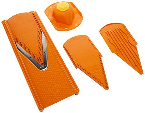 Börner V3 Gurkenhobel, Gemüseschneider, Obstschneider, Sicherheitseinschub Orange