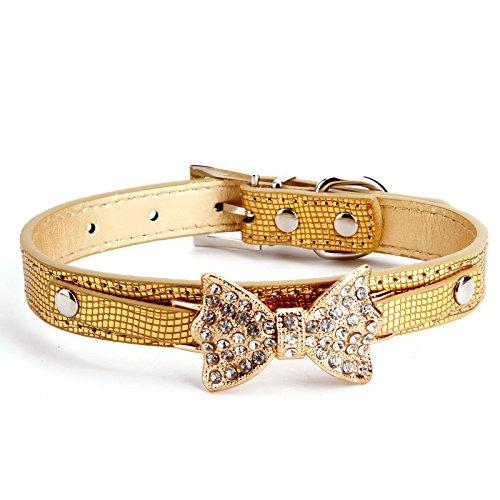 Luxus Lederhalsband Hundehalsband Welpenhalsband Sicherheitshalsband Halsbänder Katzenhalsband mit Schleife Strass Blau/Pink/Rosa/Rot/Golden einstellbar