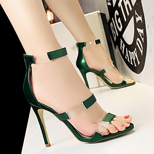 Lgk & Fa Un Bouton D'orteil Simple Avec Une Belle Rome All-match Femme Sandales À Talons Hauts 34 Mètres De Blanc 37 Vert