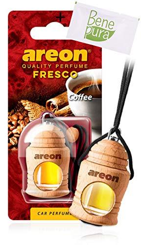 AREON Auto Lufterfrischer Parfüm Fresko 4 ml - Kaffee-Duft - Hängende Flasche Diffusor mit Echtholzdeckel, langlebig