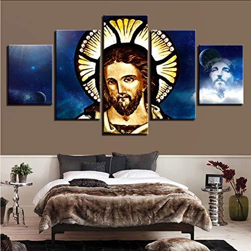 Wuwenw Gedruckt Hd Bilder Dekoration Wohnzimmer Wandkunst Rahmen 5 Stücke Christian Religion Jesus Leinwand Malerei Modulare Poster, 4X6 / 8/10 Zoll, Mit Rahmen