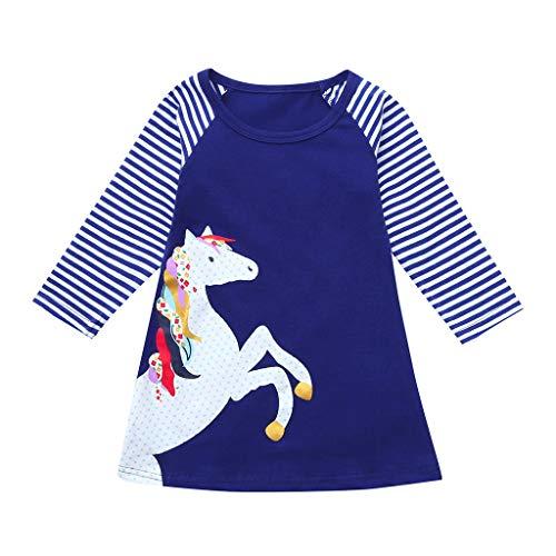 tlich, Weant Baby Kleidung Mädchen Outfits Pferd Drucken Streifen Sets Kleider FüR Kinder Mädchen Kleidung Partykleid Chiffon Kleid Baby Tägliche Kleidung Pullover ()