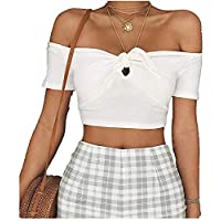 Top Style Short Sleeve Bow one line Off Shoulder Open Navel T-Shirt Top for Women,White,M