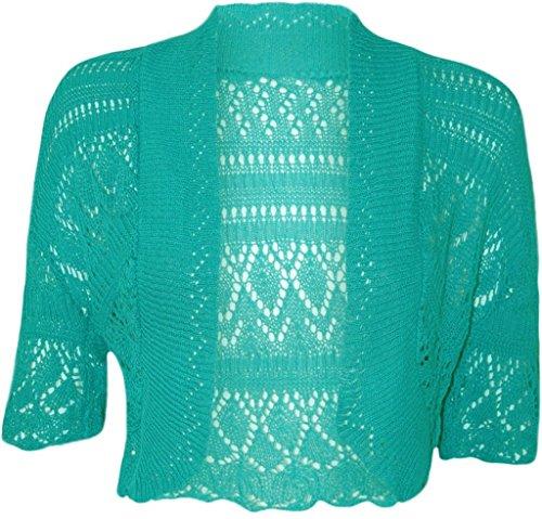 Frauen-Damen Crochet Strick Shrug Cardigan Bolero Pullover (Crochet Knit Shrug) (Crochet Knit Cardigan)