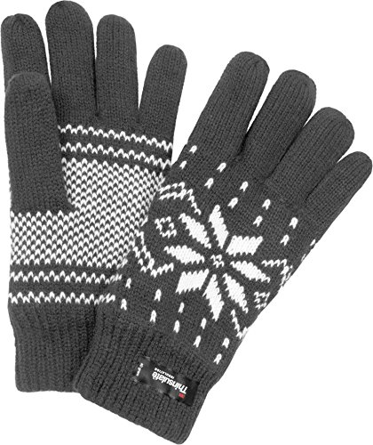 c6c9eb263d9587 normani Strick Fingerhandschuhe mit Thinsulatefütterung Winterhandschuhe  Farbe Norweger/Grau Größe S