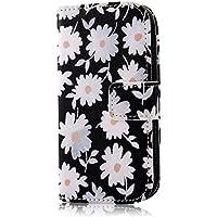 PhoneCase Gänseblümchen Blume Muster Bottom Series PU Leder Wallet Schutzhülle mit Display Schutzfolie für Samsung Galaxy S3 mini inkl. Stylus Stift weiß/schwarz