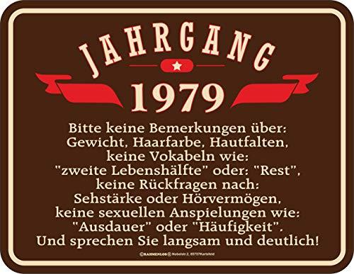 RAHMENLOS Deko Blechschild zum 40. Geburtstag Jahrgang 1979 (Einladungen Zum 40. Geburtstag)