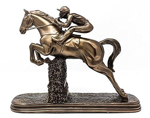 Saut Cheval Jockey Racing statue sculpture en bronze avec Steeplechaser Décoration
