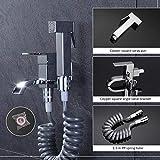 Pistola a spruzzo per bidet per bagno e piscina, rubinetto del balcone, set di ugelli per bidet, spruzzatore per WC, tubo a molla
