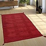 Paco Home Tappeto Design Tessuto Kelim Lavorato A Mano 100% Cotone Moderno mélange Rosso, Dimensione:120x170 cm