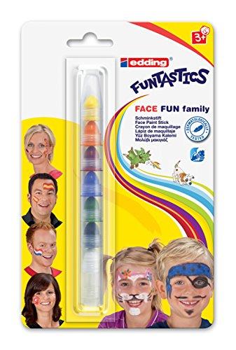 edding 47 Funtastics Face Fun - Schminkstift - 7 Farben - Ideal für Körperbemalungen von Kindern...
