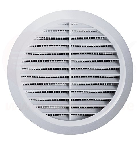 Lüftungsgitter Rund Insektennetz Abluftgitter Insektenschutz Kunststoff Ø 90 mm weiß