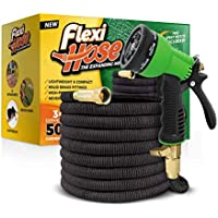 """FlexiHose Upgraded Expandable 50 FT Garden Hose, Extra Strength, 3/4"""" Solid Brass Fittings - The Ultimate No-Kink Flexible Water Hose, 8 Function Spray Included"""