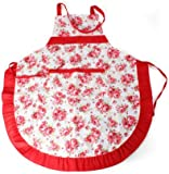 VivReal Women Apron with Ruffle Pocket Floral Roses for Cooking Kitchen Chef Waitress