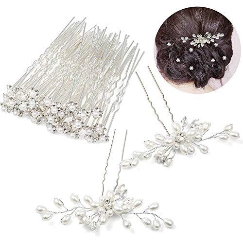 Czemo 42 Stück Perlen Haarnadeln Silber Haarschmuck Strass Blumen Kristall Haar Stifte Clips Hochzeit Haarschmuck - Pins Braut-haar