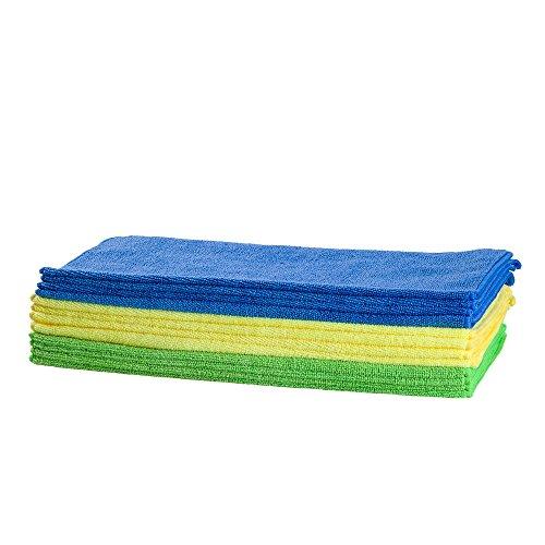 Bayetas de microfibra altamente absorbente. Paños de microfibra suaves y no abrasivos con superficies delicadas para limpiar cristales, coche, muebles, zapatos o cualquier otra cosa. Bayetas en diferentes colores resistentes a los lavados. (Pack de 10 bayetas + 2 de regalo).