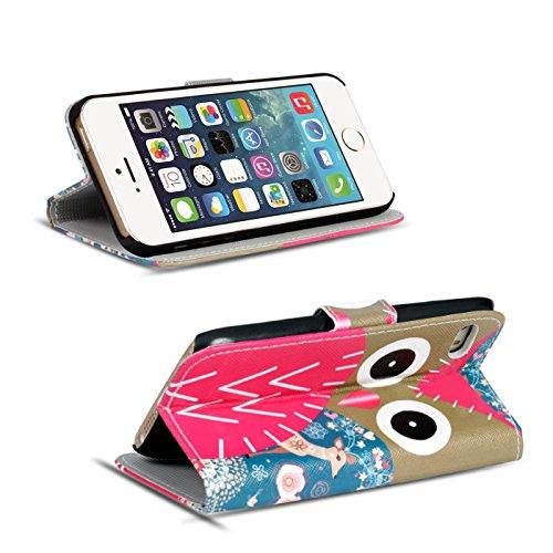 Gemusterte Hülle für Apple iPhone 5S SE 5 Klapphülle Tasche – Wallet Case im Owl und Reh Motiv Design mit Kartenfach und Aufstellfunktion Motiv 17
