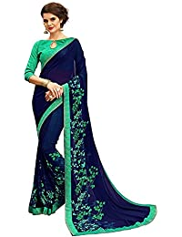 Saree (Monika Fashion Georgette Printed Designer Saree With Blouse Piece) Nevy Blue Color