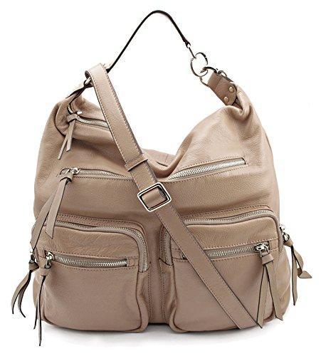 Bovari Reporter Bag Damen Handtasche / Schultertasche (36x34x16 cm) – echt Leder – super soft limited edition (vintage taupe) (Vintage-handtasche White)
